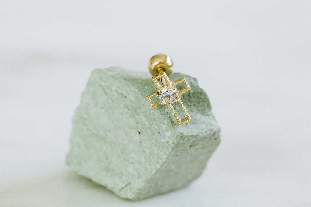 14k Gold Cross Cubic Barbell Ear Stud Piercing