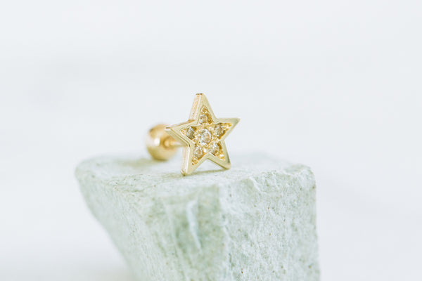 14k Gold Cartilage anti Tragus Forward Helix inner conch lobe ball barbell tongue nose cubic star earring piercing Jewelry