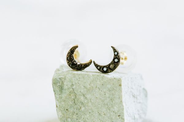 14k Gold Black Cubic Moon Barbell Ear Stud Piercing