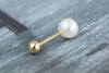 14k Gold  Simple pearl Piercing-B