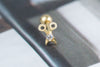 14k Gold  CZ scissors Piercing-D
