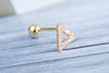 14k Gold  CZ triangle piercing-I