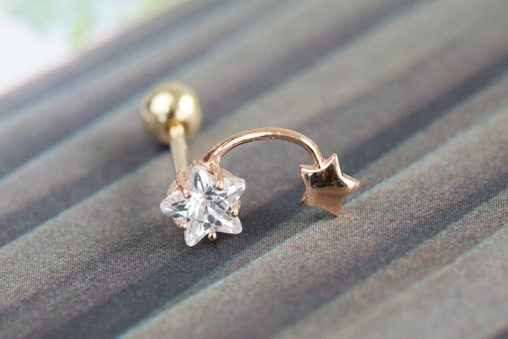 14k Gold  cubic star Piercing-J