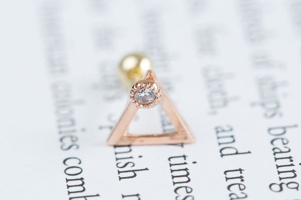 14k Gold  CZ triangle piercing-K