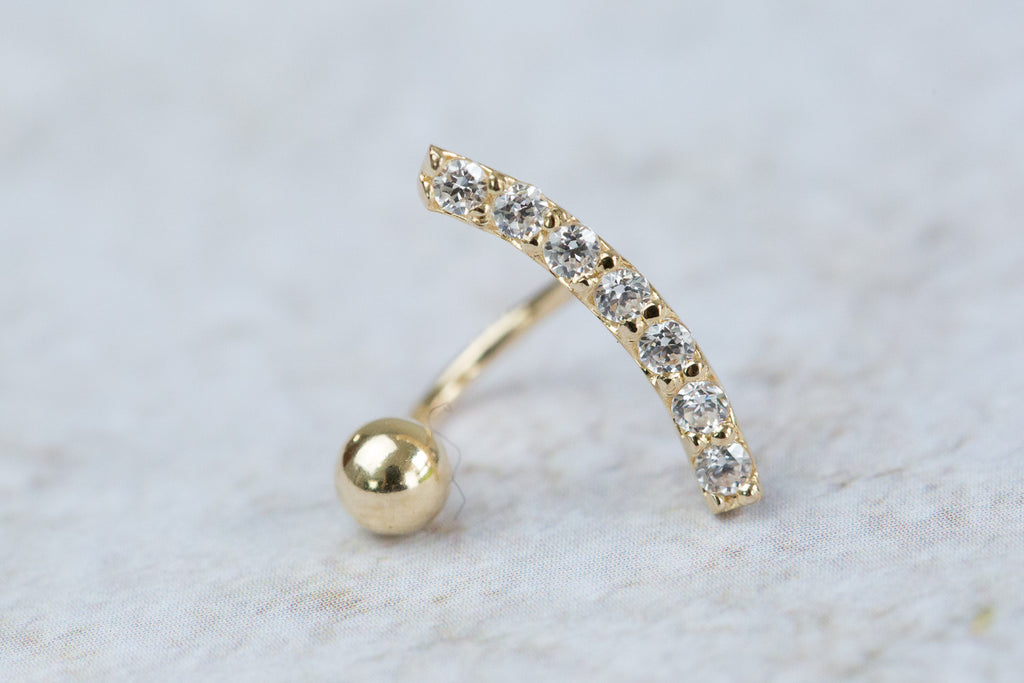 14k Gold  CZ curved bar Piercing-V