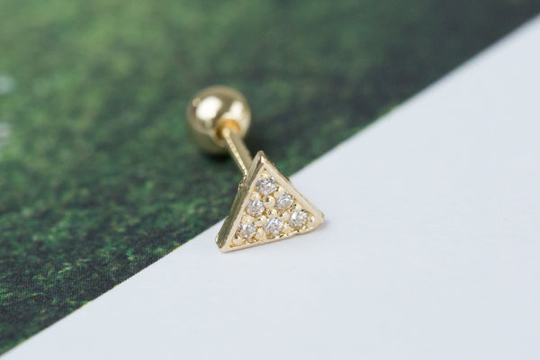 14k Gold  CZ tringle Piercing -X