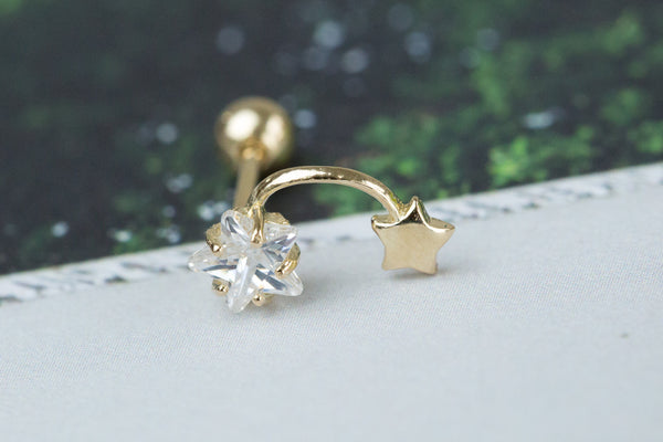 14k Gold  CZ star Piercing-Y