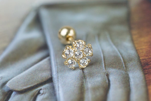14k Gold  CZ flower Piercing-AA