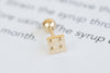 14k Gold  square lego block Piercing-AI