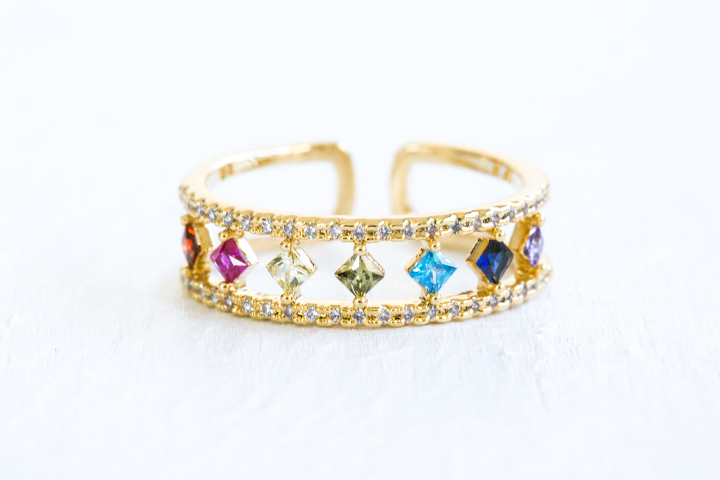 Multi Simulated Diamond Cz Egypt Crown Lines Round Adjustable Ring