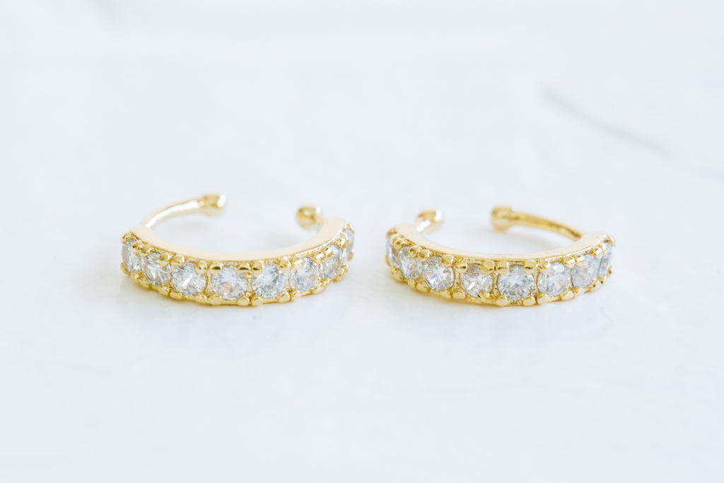 Simulated Diamond Cz Open Round Band Non Pierced Ear Cuff Earring