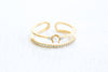 Simulated Diamond Cz Crown Simulated Pearl Adjustable Ring