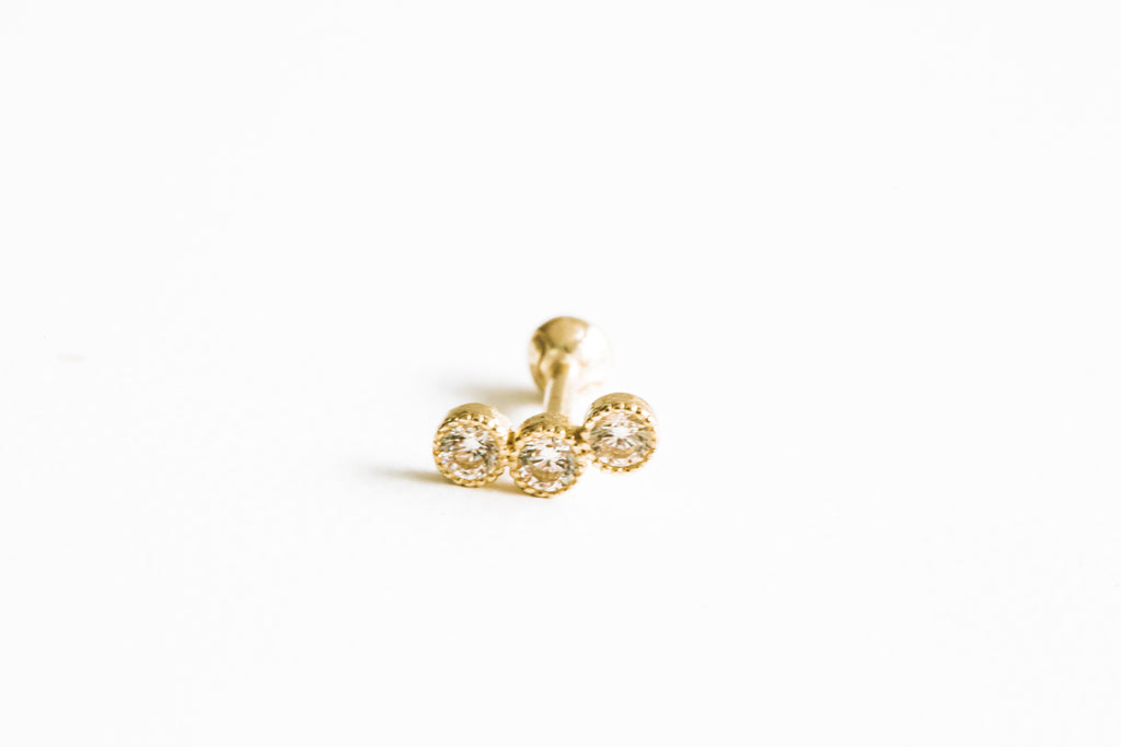 14k Gold Three Cubic Round Pendant Barbell Ear Stud Piercing