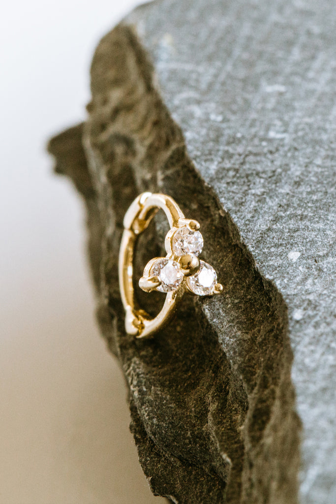 Cz Tragus Cartilage Triangle Hoop Ring Piercing Earring-14K Solid Gold