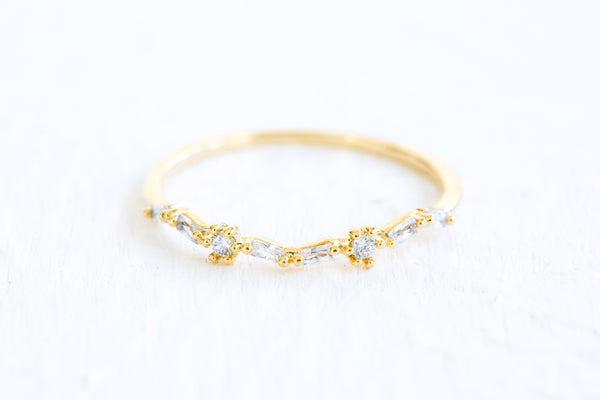 Simulated Diamond Small Cz Delicate Bridesmaid Gift Wave Round Ring