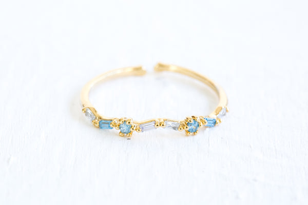 Sky Blue Simulated Diamond Cz Slim Wave Adjustable Ring