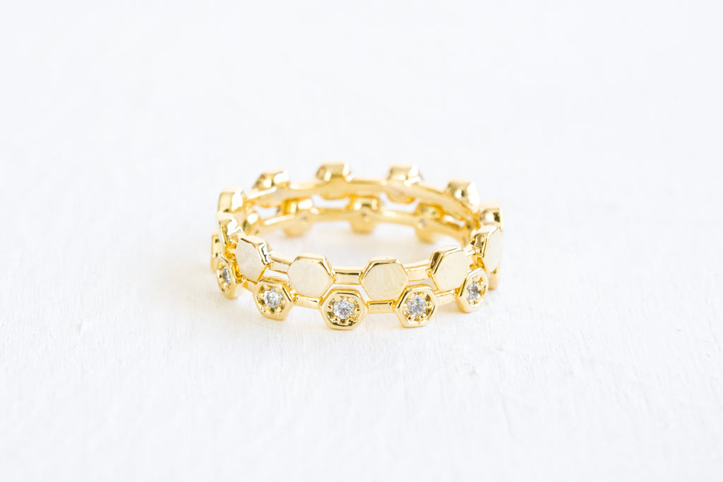 Simulated Diamond Cz Honey Bee Hexagon Adjustable Two Rings Set