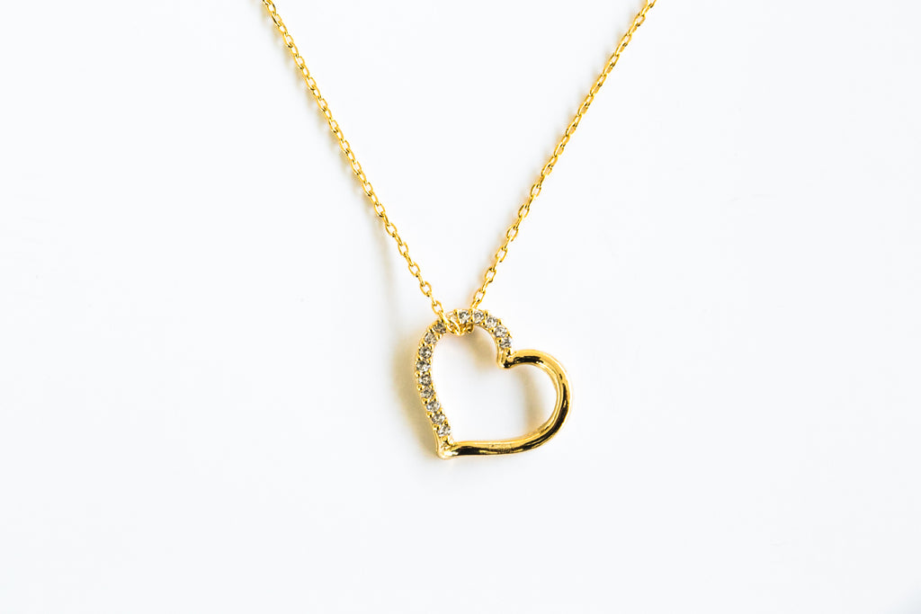Fashion Necklace Delicate Jewelry Cubic Heart Pendant Chain Necklace