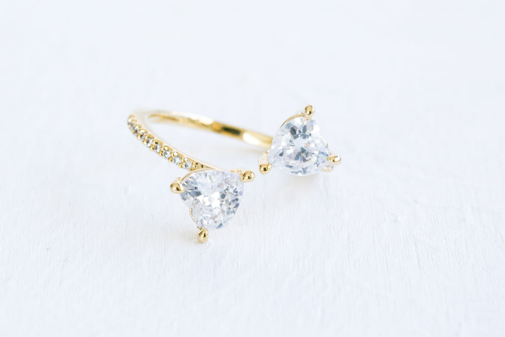 Cz Love Heart Open Round Adjustable Ring For Women Teens Girls