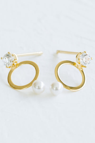 925 Sterling Silver Cz Open Round Simulated Pearl Ear Studs Post Earrings