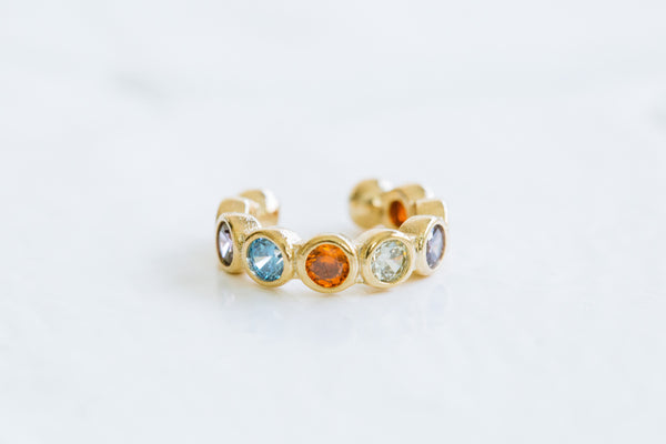 Simulated Diamond Colorful Cz Beaded Open Ring Non Pierced Ear Cuff Earring