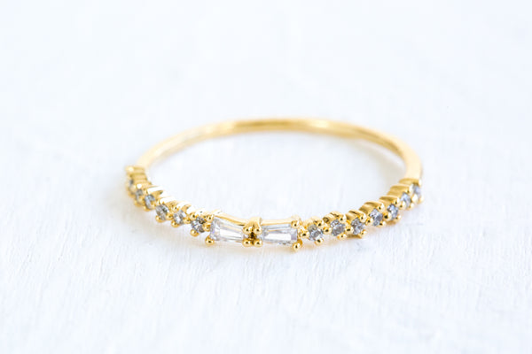 Simulated Diamond Small Cz Delicate Tie Kknot Ribbon Round Ring