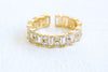 Simulated Diamond Square Cz Crown Tiara Round Adjustable Ring