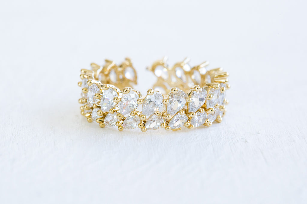 Cz Teardrop Waterdrop Tiara Crown Round Adjustable Ring For Women