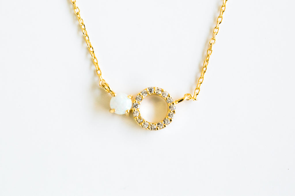 Fashion Necklace Jewelry Pearl Round Cubic Pendant Chain Necklace