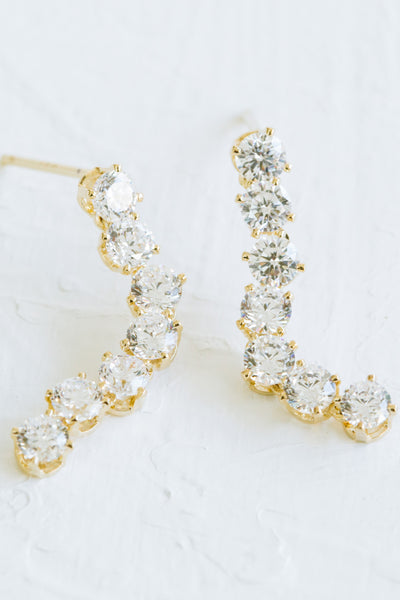 925 Sterling Silver Dangling Cz Stick Ear Stud Post Earrings