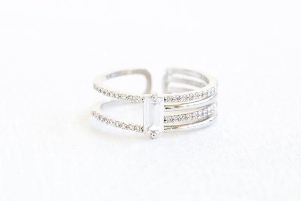 Simulated Diamond Square Cz Lines Round Adjustable Ring