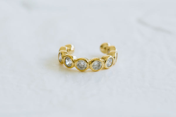 Simulated Diamond Cz Beaded Open Ring Non Pierced Ear Cuff Earring