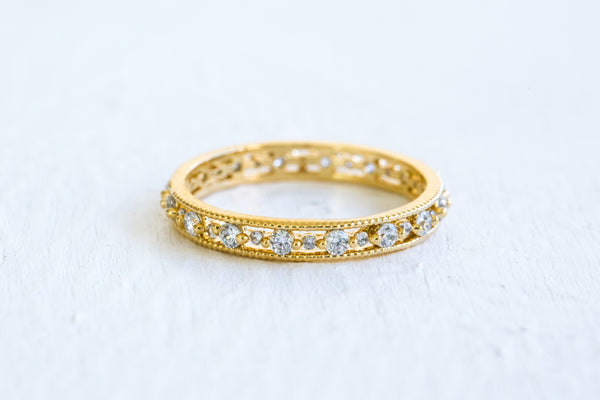 Simulated Diamond Small Cz Delicate Bridesmaid Gift Round Ring