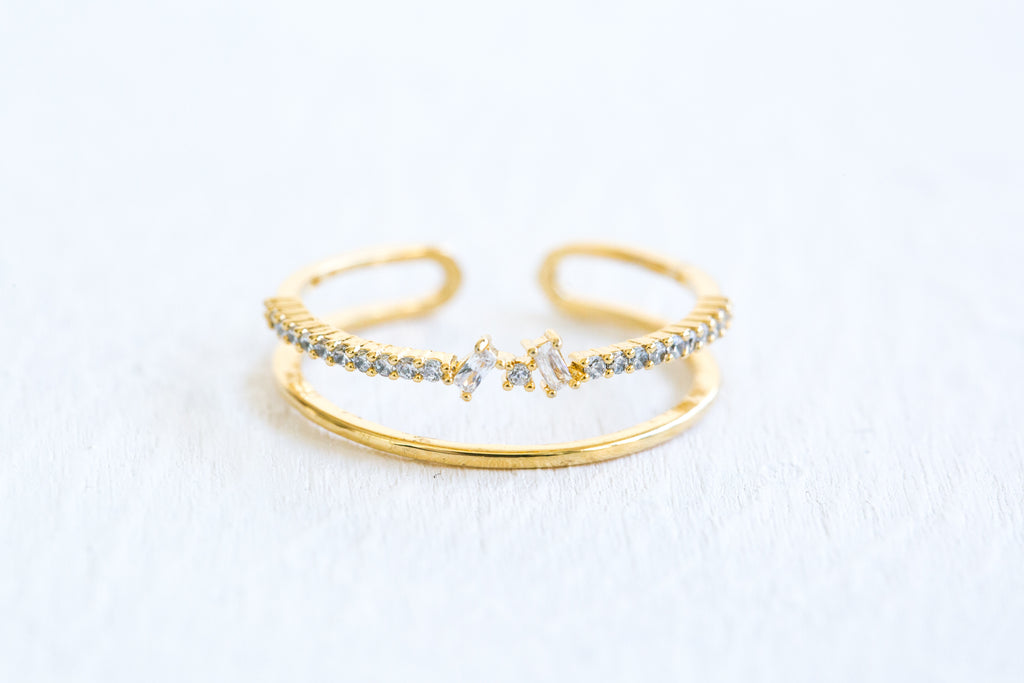 Simulated Diamond Cz Delicate Crown Two Lines Star Adjustable Ring