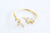 Simulated Diamond Cz Flower Tree Twig Leaf Leaves Adjustable Ring