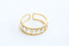 Simulated Diamond Cz Delicate Egypt Crown Lines Round Adjustable Ring