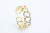 Cz Hexagon Chain Round Adjustable Ring For Women Teens Girls