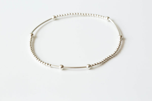 925 4round line ball anklet-h