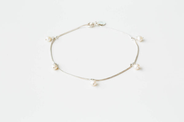 925 ball pearl anklet-k