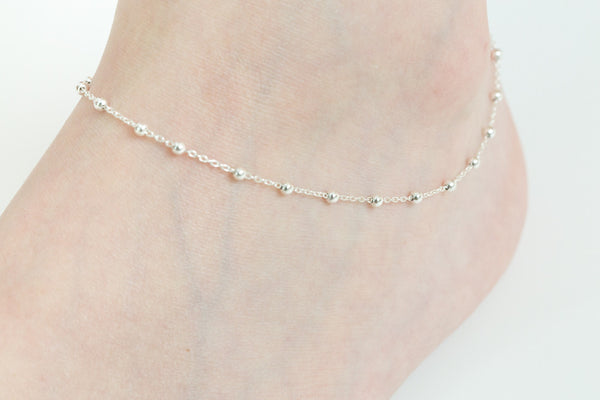 925 ball mix chain anklet-r
