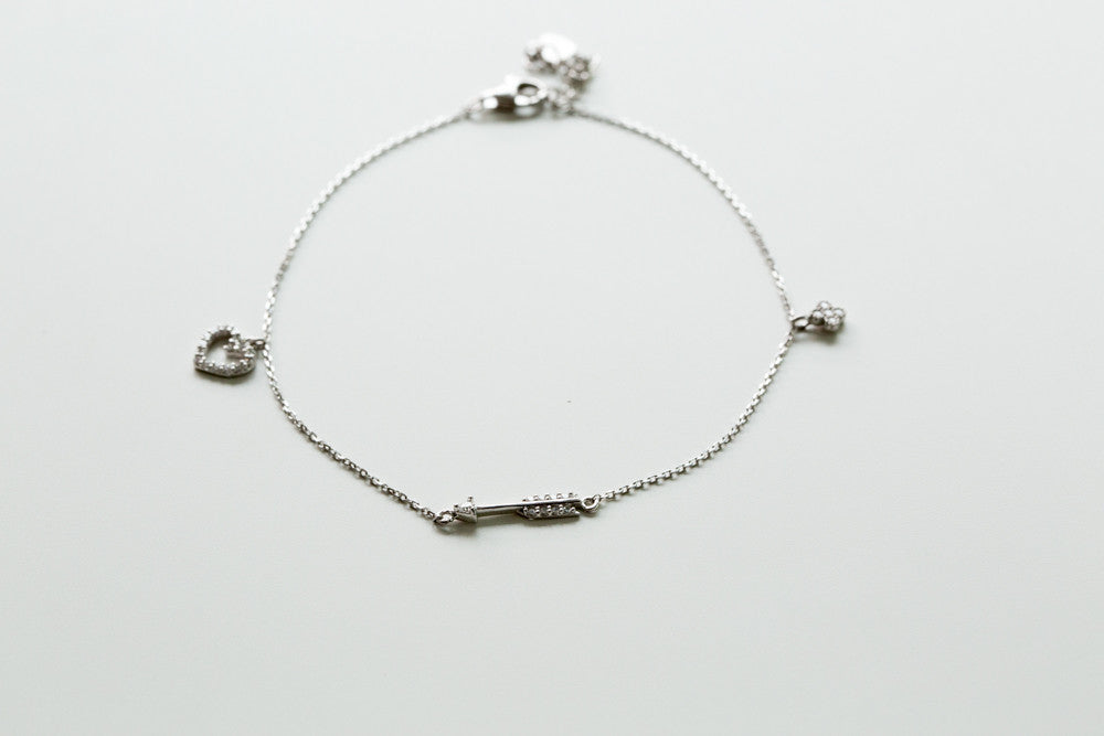 925 flower arrow heart anklet-u