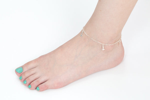 925 anchor anklet-w