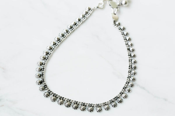 925 flower round bell anklet-y