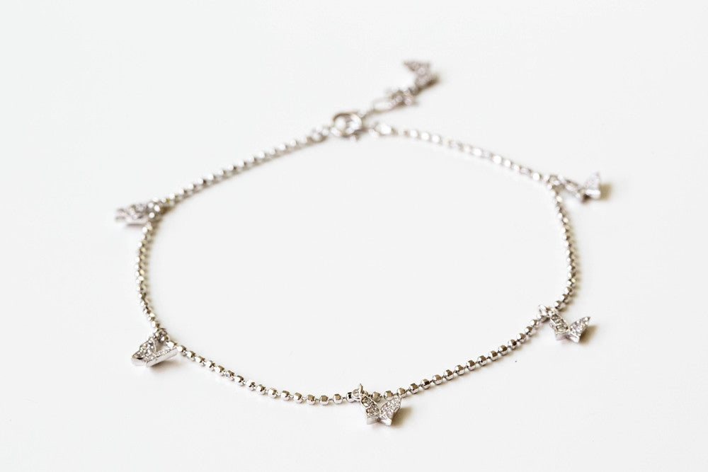 925 butterfly cz pendant anklet-ag