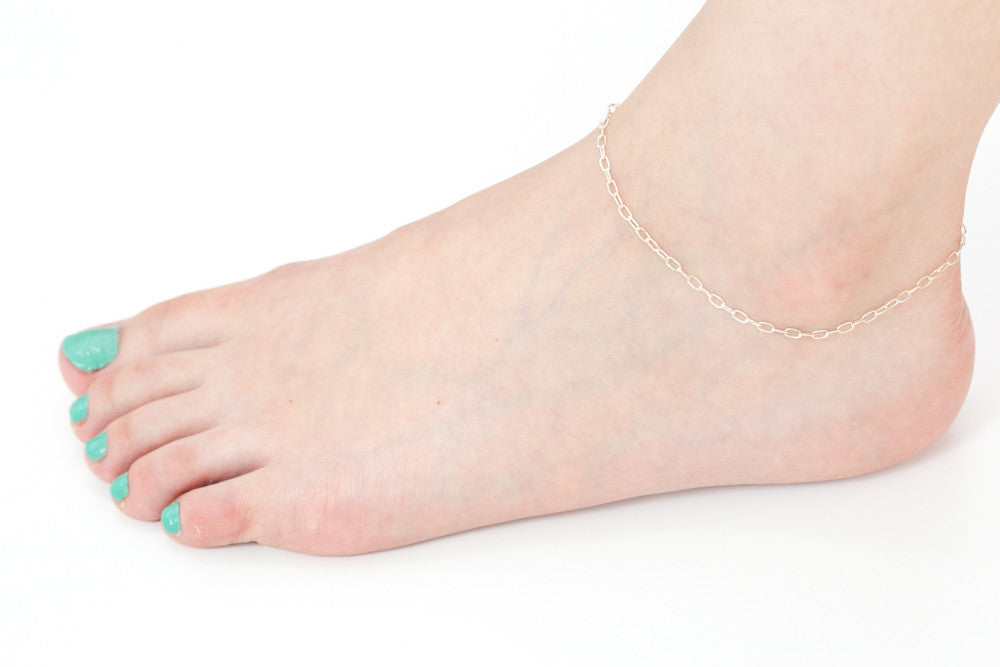 925 oval chain anklet-at