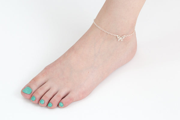 925 butterfly pendant anklet-ay