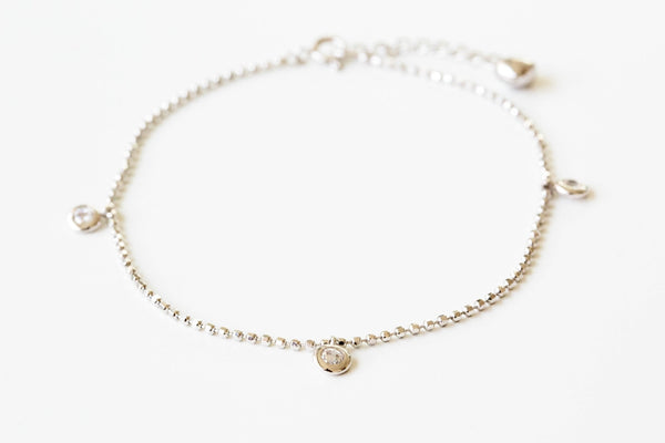 925 heart CZ anklet-be