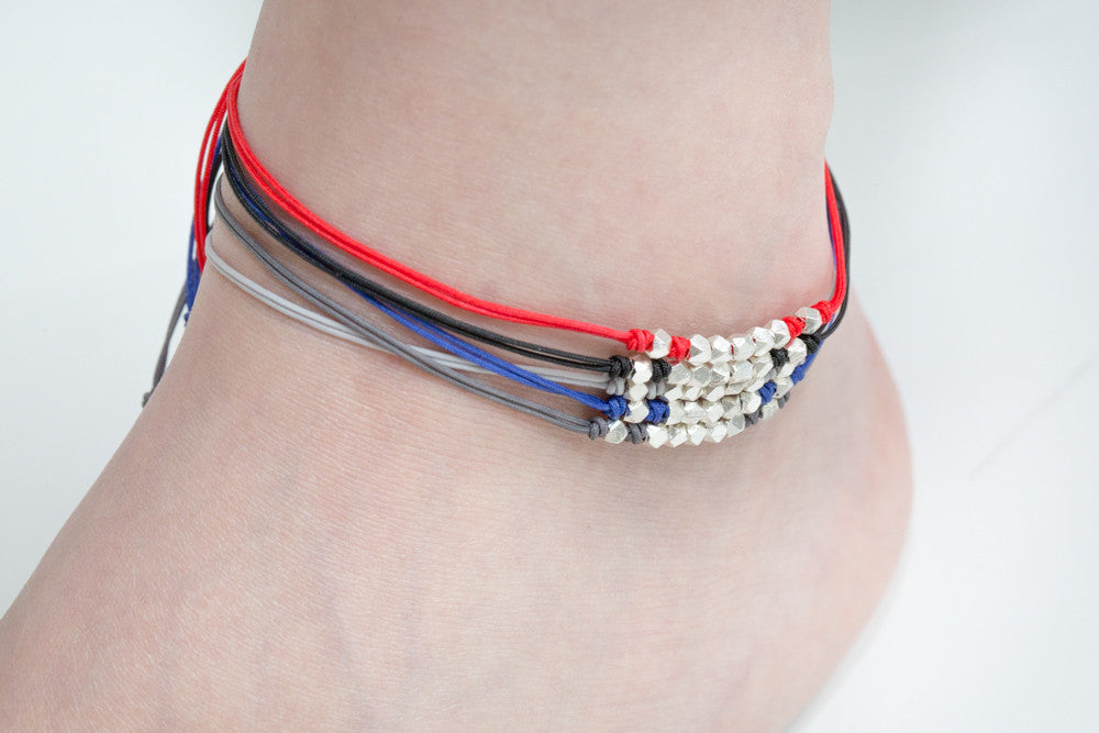 925 cutting ball line knot anklet-bh