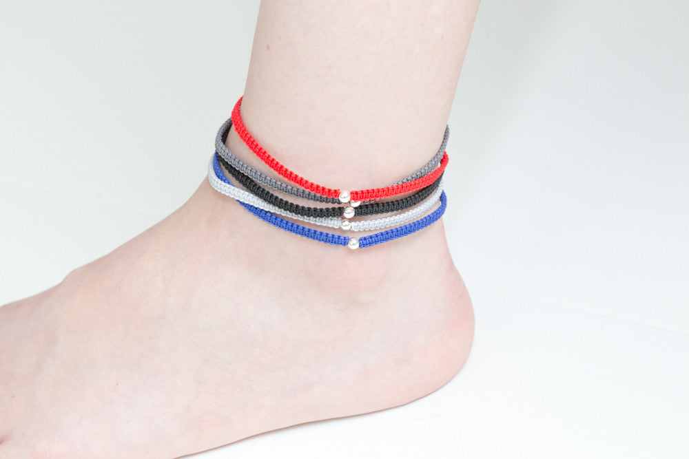 925 knot circle ball anklet-bj