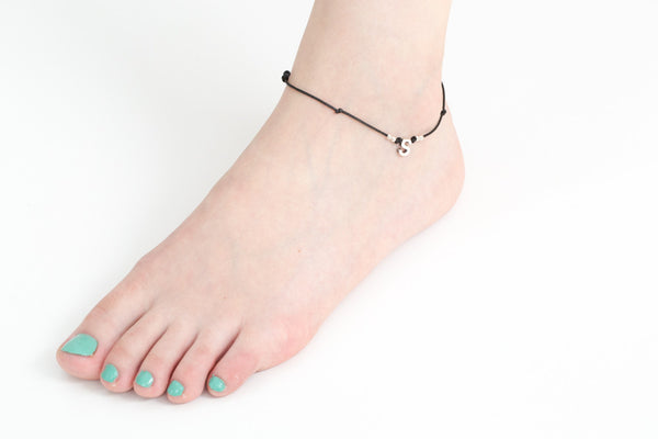 925 ball initials anklet-br